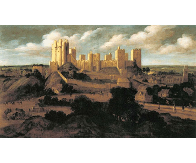Painting of Pontefract Castle from the south, attributed to Alexander Keirinex, c.1625-30.